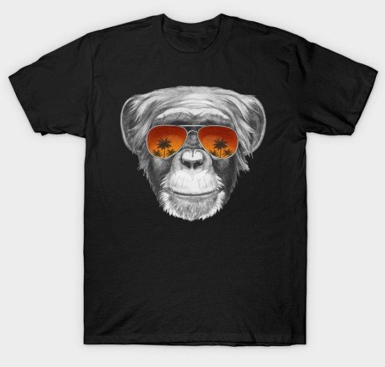 Monkey with mirror sunglasses T-Shirt