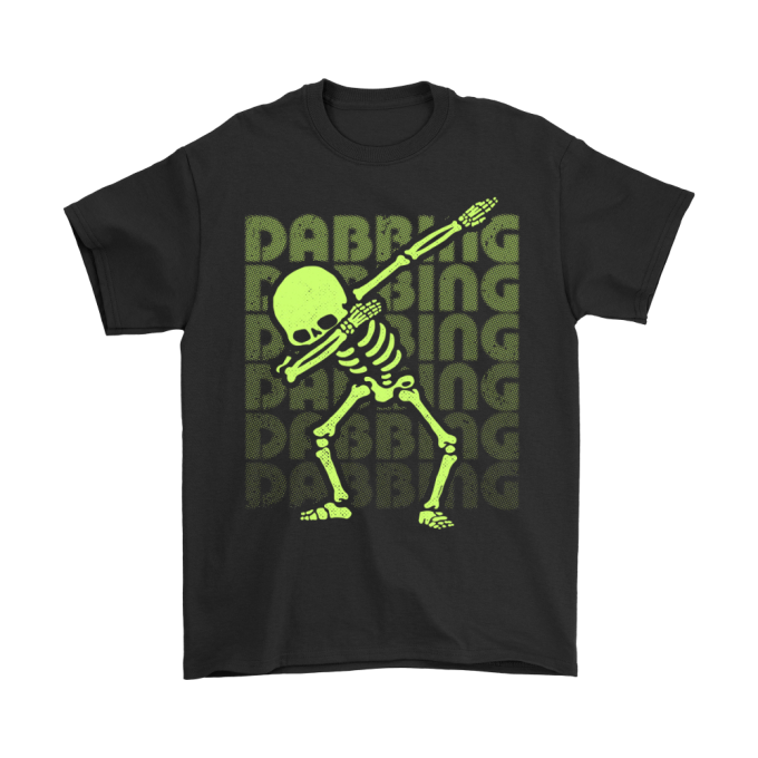 DABBING SKELETON YELLOW GREEN FAKE GLOW EFFECT HALLOWEEN SHIRT