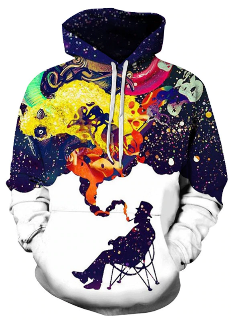 Illusion Of Cigarette Smoke Full Print 3D Hoodie